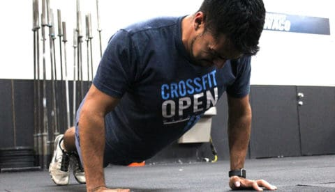 crossfit athlete doing a pushup